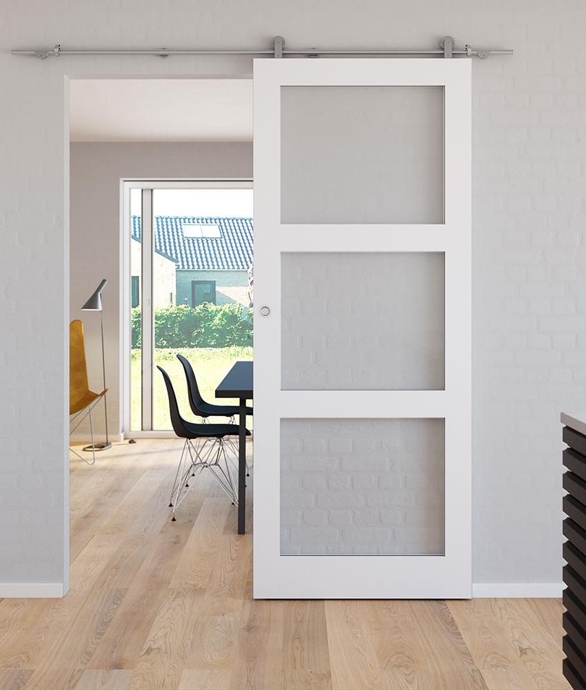 Kvadrat 3 Glas Skyded 248 R Med Rustfri St 229 Lskinne Safco Doors